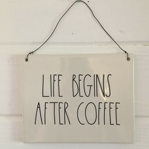Rae Dunn Life Begins After Coffee Sign Plaque NEW